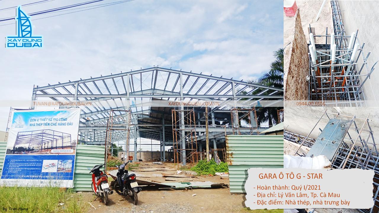 Công trình nhà thép tiền chế gara ô tô Cà Mau